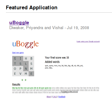 uBoggle is the featured application on App Gallery